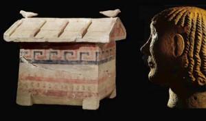 Museo etrusco - urna casa e testa